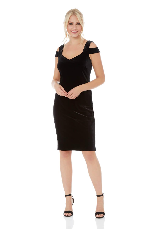 Roman Originals Velvet Cold Shoulder Dress