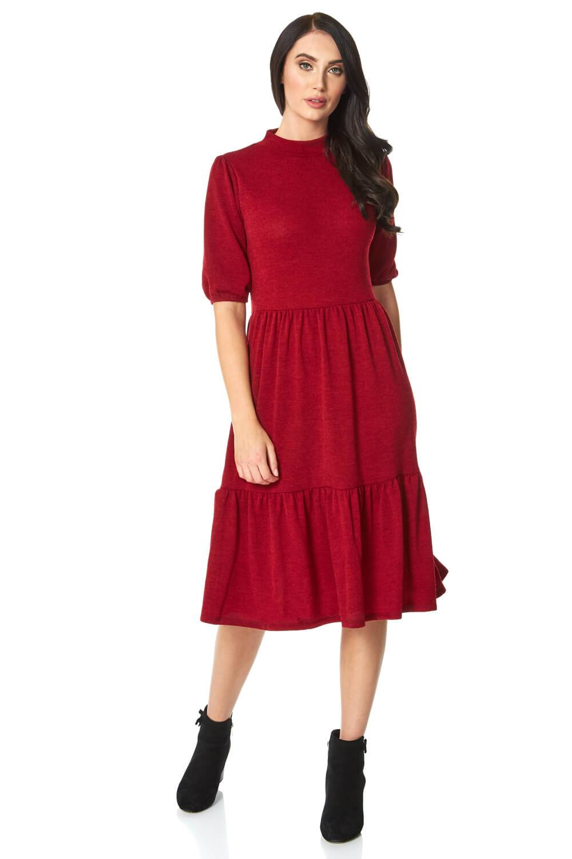 Roman Originals Puff Sleeve Knitted Midi Dress