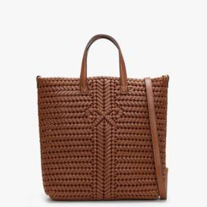 ANYA HINDMARCH Small Neeson North South Cedar Leather Woven Tote Bag A - female - Brown Leather