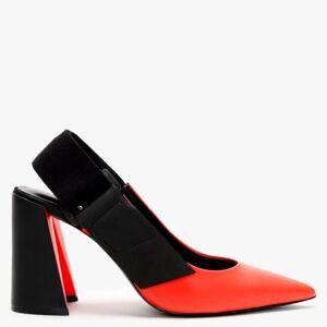 DANIEL Enrol Orange & Black Leather Sling Back Court Shoes Size: 37, C - Orange Leather - unisex - Size: 37