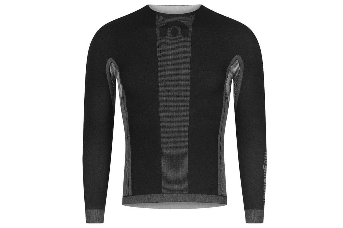 Megmeister Men's Drynamo Cycle Long Sleeve Base Layer  - BLACK - Size: Large