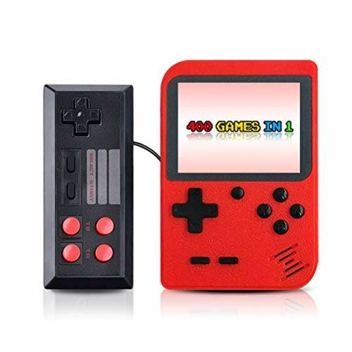 Deeabo Portable Video Game Console, Retro Handheld Mini Pocket Game Player Built-in 400 Classic Games Gift, Two Players 800mAh Rechargeable Classic Doubles Handheld Game Console for Kids Adult, Red - Like New