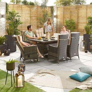 Blakesley's Nova Ruxley Reclining Rattan Garden Furniture 6 Seat Brown Dining Set - 1.5m X 1.0 m Rectangular Table