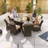 Blakesley's Nova - Olivia 8 Seat Dining Set with FirePit - 1.8 m Round Table - Brown