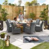Blakesley's Nova - Olivia 8 Seat Dining Set with Fire Pit - 2m x 1.3m Oval Table -Grey