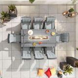 Blakesley's Nova Olivia 8 Seat Dining Set with FirePit - 2m x 1m Rectangular Table - Grey