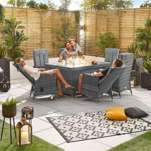 Blakesley's Nova - Ruxley 6 Seat Dining Set with Fire Pit - 1.5m x 1m Rectangular Table - Grey