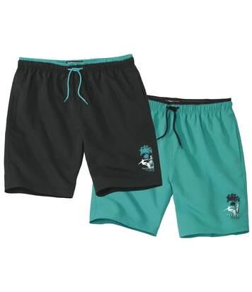 Atlas for Men Pack of 2 Men's Swim Shorts - Black Green  - BLACK - Size: 3XL