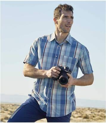 Atlas for Men Men's Blue Summer Checked Shirt  - CHECKED - Size: M