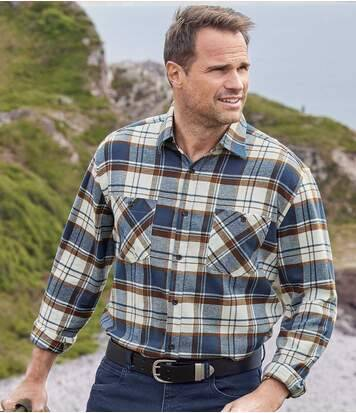 Atlas for Men Men's Casual Checked Flannel Shirt - Navy, Brown, Ecru  - CHECKED - Size: L