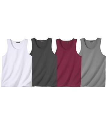 Atlas for Men Pack of 4 Men's Vests - Burgundy White Grey  - BURGUNDY - Size: L