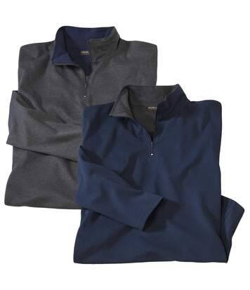 Atlas for Men Pack of 2 Men's Zip-Neck Jumpers - Blue Grey - North Expedition  - GREY - Size: 3XL