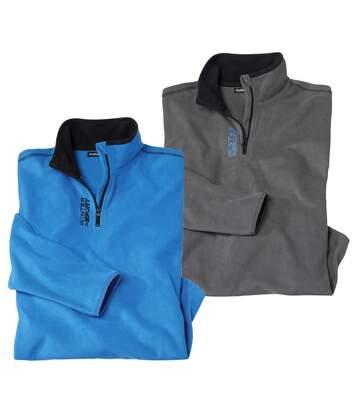 Atlas for Men Pack of 2 Men's Half Zip Microfleece Jumpers - Grey Blue  - GREY - Size: 4XL