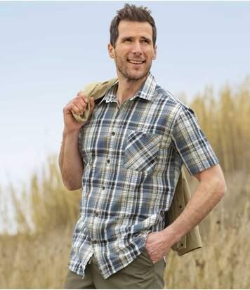 Atlas for Men Men's Casual Checked Shirt - Grey Navy Off-White  - CHECKED - Size: 3XL