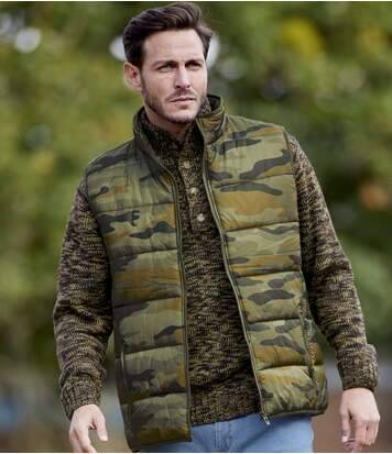 Atlas for Men Men's Camouflage Water-Repellent Padded Bodywarmer - Full Zip  - CAMOUFLAGE - Size: L
