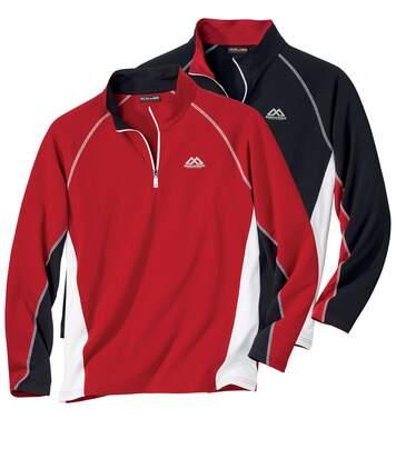 Atlas for Men Pack of 2 Men's Sport Line Polo Neck Jumpers - Black Red  - BLACK - Size: 3XL