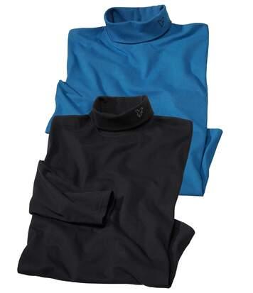 Atlas for Men Pack of 2 Men's Turtleneck Jumpers - Blue Black  - BLACK - Size: 3XL