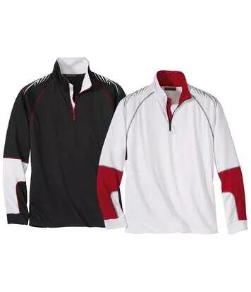 Atlas for Men Pack of 2 Men's Half Zip Funnel-Neck Jumpers - Black White  - WHITE - Size: 3XL