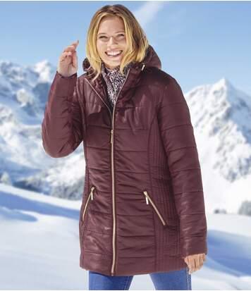 Atlas for Men Women's Plum Padded Jacket with Hood - Full Zip - Water-Repellent  - BURGUNDY - Size: 8-10