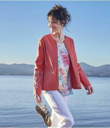 Atlas for Men Women's Coral Jacket with Embroidery  - CORAL - Size: 16-18