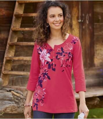 Atlas for Men Women's Pink Button-Neck Top  - PINK - Size: 16-18