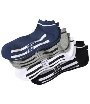 Atlas for Men Pack of 4 Men's Sporty Ankle Socks - White, Blue, Grey and Black  - GREY - Size: 5½-8