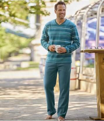 Atlas for Men Men's Blue Microfleece Pyjamas  - STRIPED - Size: 4XL