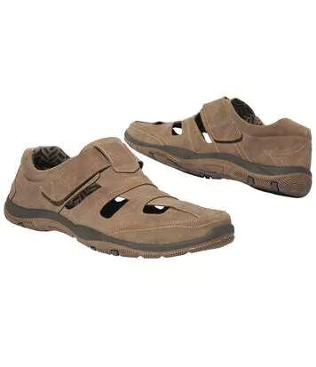 Atlas for Men Men's Brown Leather Summer Shoes  - BROWN - Size: 9½