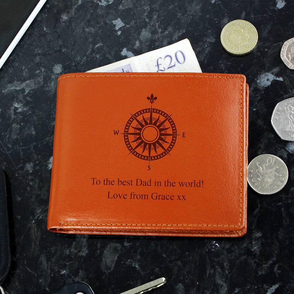 Personalised Memento Company Personalised Compass Tan Leather Wallet