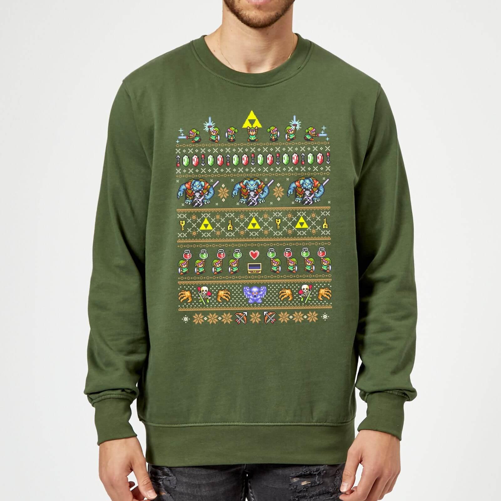 Nintendo The Legend Of Zelda Retro Green Christmas Sweatshirt - L - Green