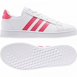 adidas Juniors Grand Court Trainers (White / Pink) Size: 4.5, Colour: