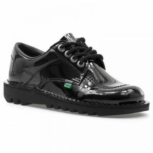 Kickers Womens Kick Lo Classic Patent Shoes (Black) Colour: Black, Size: 6