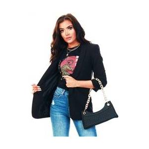 Pieces Black / Black Long Classic Blazer  - Size: Large