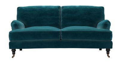 Bluebell 2.5 Seat Sofa (breaks down) in Deep Turquoise Cotton Matt Velvet