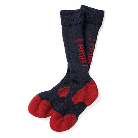 AriatTEK Alpaca Performance Riding Socks Colour Navy and Red Size XS/S