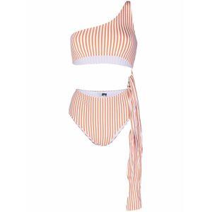 Antonella Rizza stripe-print cut-out one-piece - Orange -Female