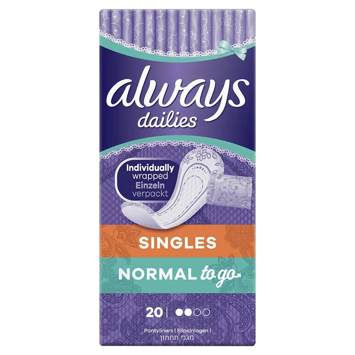 ALWAYS DAILIES Singles Normal To Go Fresh Panty Liners x20 Toiletries