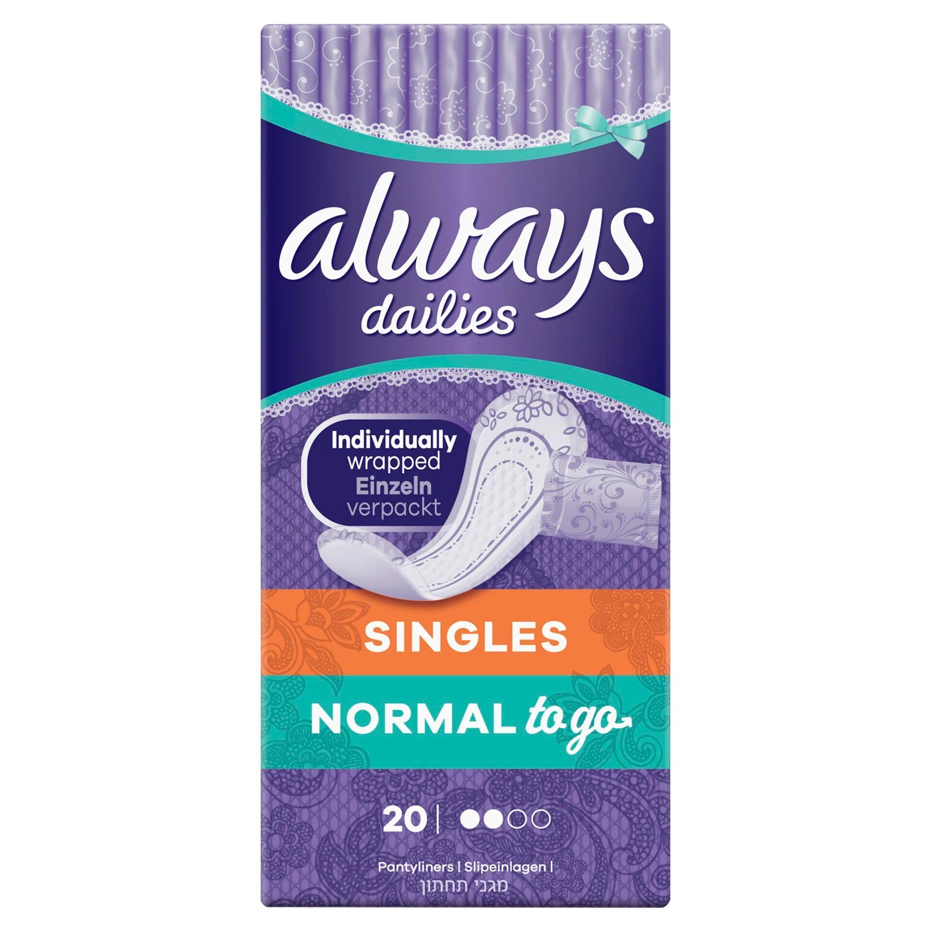 Always Dailies Singles Panty Liners Fresh - 20 Periods
