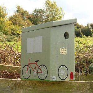 Hello Of Mayfair Personalised Bike Shed Bird Box Grey