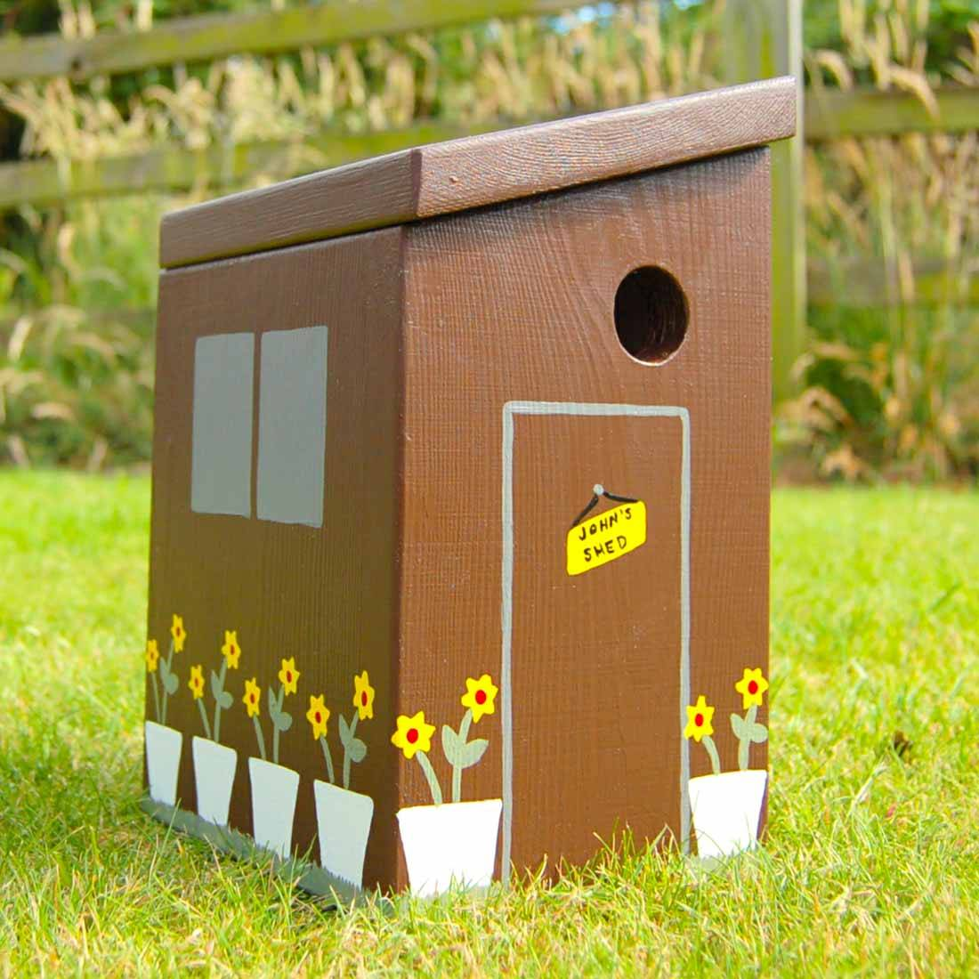 Hello Of Mayfair Personalised Garden Shed Bird Box Brown