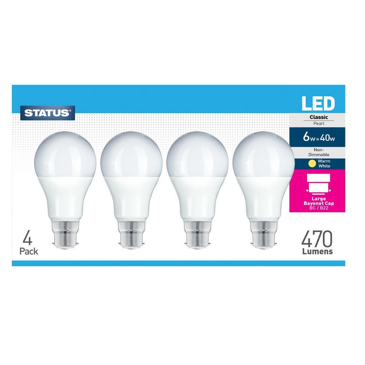 Simple Lighting 4 Pack - 6w LED Bulbs, Warm White B22 Bayonet