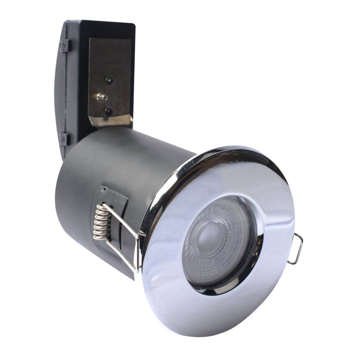 Simple Lighting Fire Rated Fixed Shower Downlight In Polished Chrome IP65