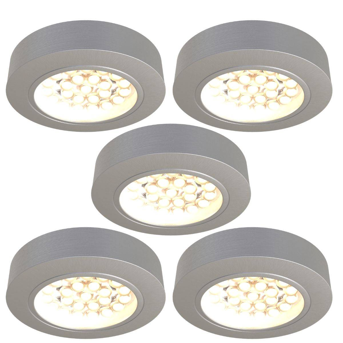 Simple Lighting Pack of 5, Round, Surface Mounted LED Under Cabinet Lights With Transformer - White or Warm White