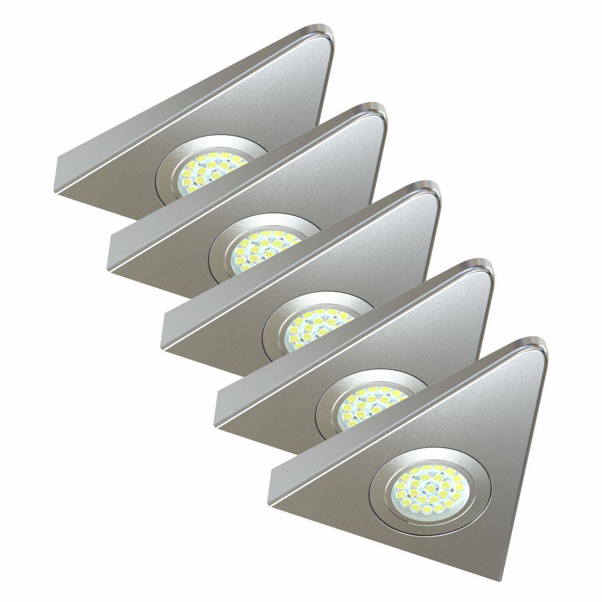 Simple Lighting Pack of 5, Super-slim, High Power, 1.8w LED, Triangle, Surface Mounted, Under Cabinet Lights