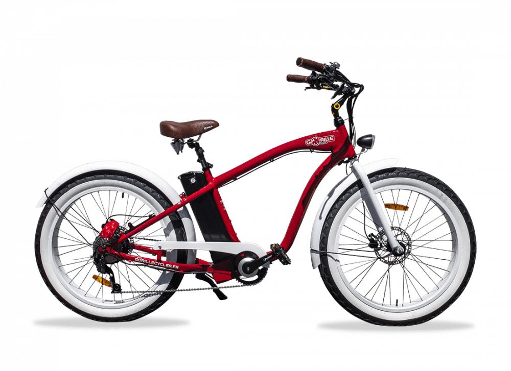 Gorille Electric Fat Bike Beach Cruiser Gorille 520Wh Red