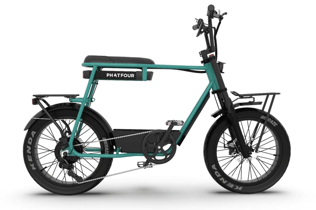 PHATFOUR Retro Electric Fat Bike Vintage 70s PHATFOUR FLB+ Green 470Wh Single seat