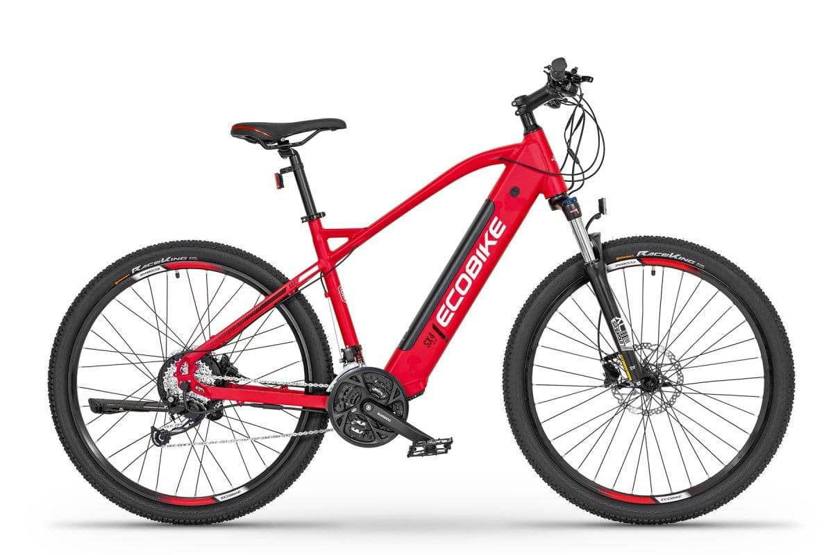 """Ecobike Mens electric hybrid bike with front suspension Ecobike SX4 Red 19"""" 576Wh"""