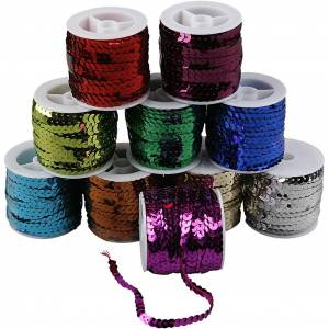 Creativ Company Sequined Ribbon, W: 6 mm, metallic colours, 10x10 m/ 1 pack