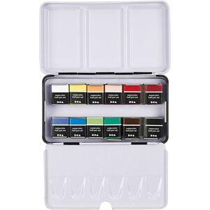 PigmentArtProff Art Aqua watercolour paints, ½-pan, size 10x20 mm, assorted colours, 12 colour/ 1 pack