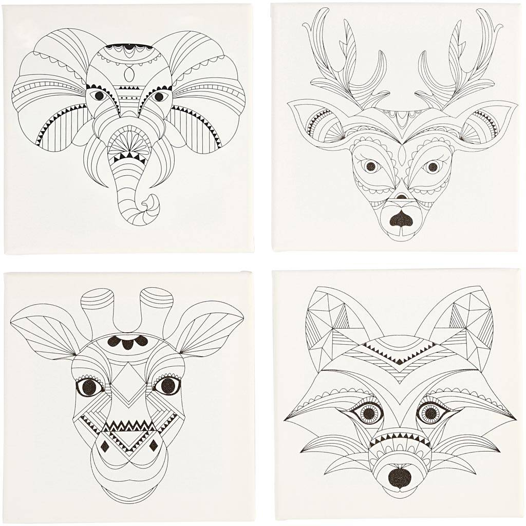 Creativ Company Stretched Canvas With Print, animals, size 20x20 cm, 280 g, white, 4 pc/ 1 pack